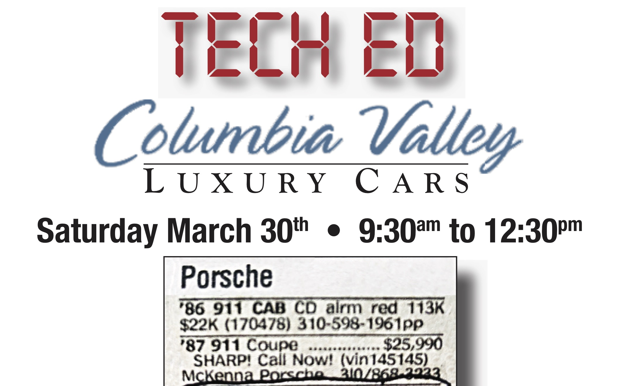 Pnwr Tech Ed Columbia Valley Luxury Cars Porsche Club Of America