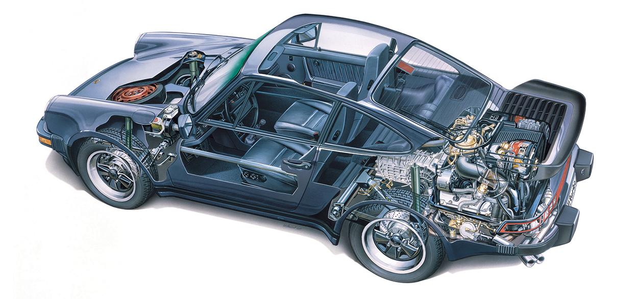 above: 1988 911 turbo cutaway drawing