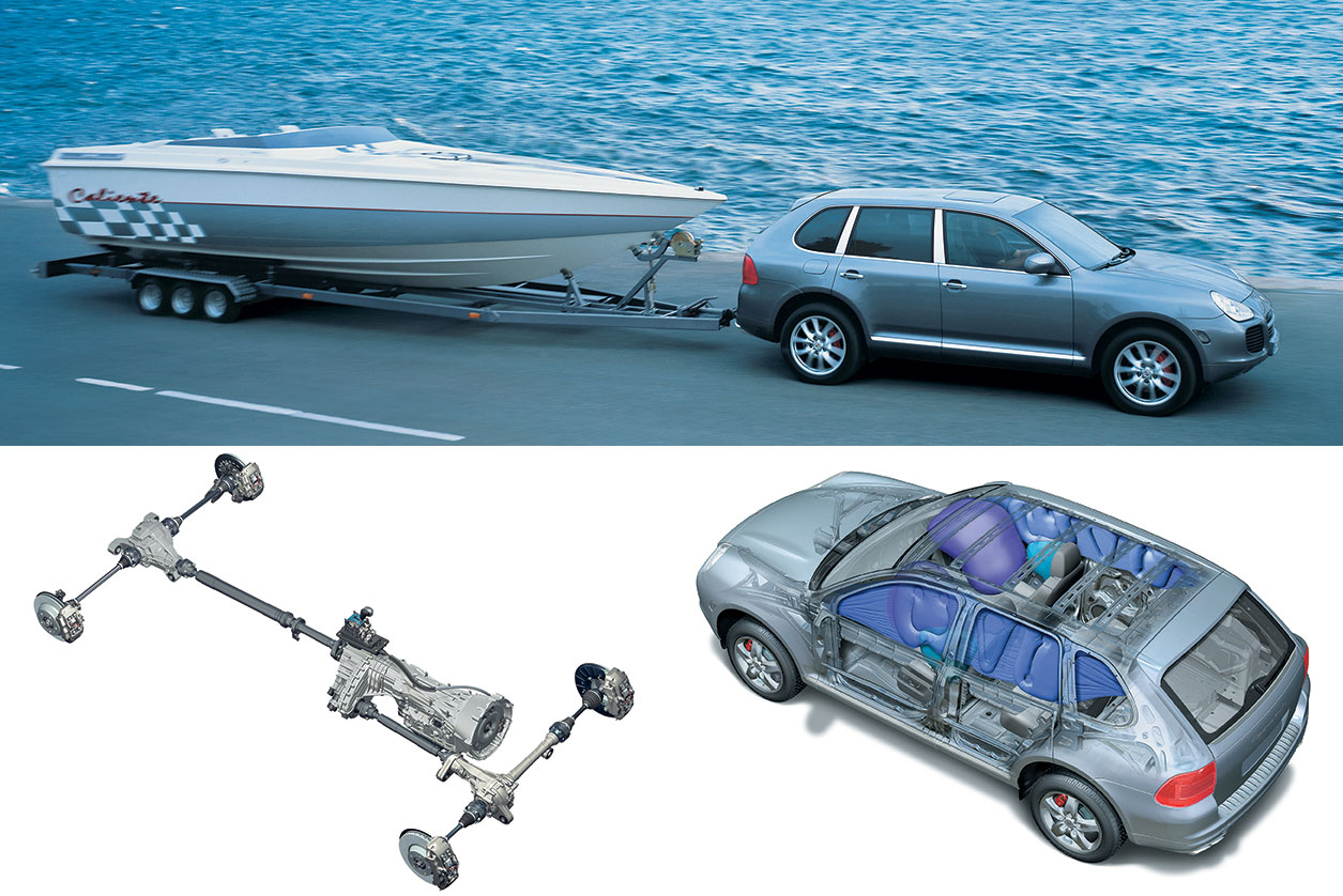 Clockwise, from top: With a tow rating of 7,716 pounds, the Cayenne Turbo  can tow a boat; safety features displayed in a cutaway illustration of the  Cayenne ...
